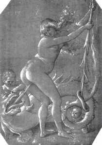 Witch and Dragon by Hans Baldung, c.1514
