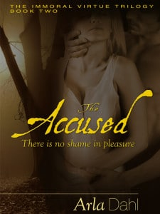 The Accused - Immoral Virtue #2 Book cover. sexy couple in an Erotic pose