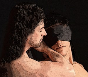 Male Dom with Blindfolded Male Sub