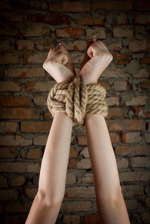 Woman's hands bound with rope - Sexy Saturday Snippet - Calm and Clamped