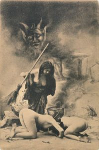 Witches Brooms - featured in one in a series of French postcards depicting the witch's sabbot, c1910